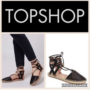 Topshop Eve Lazer flat cutout espadrille shoes 37